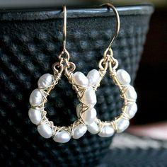 Handmade pearl earrings white freshwater by MimiMicheleJewelry