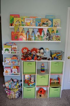 I could use this set up for any space. Like a closet kids room etc. Small Space Organization Toy Wall perfect for our joint toy room/ library. Small Space Organization, Toy Organization, Organizing Toys, Organizing Ideas, Toddler Closet Organization, Bedroom Organization, Girl Room, Girls Bedroom, Diy Bedroom