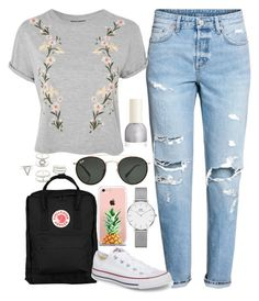 """Back To School Inspired Look"" by michellechlo ❤ liked on Polyvore featuring Fjällräven, H&M, Topshop, Converse, The Casery, Daniel Wellington, Ray-Ban and Charlotte Russe"