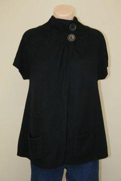 Newport News Soft Black Funnel Neck Pockets Soft Sweater Jacket Cardigan sz M #NewportNews #Cardigan