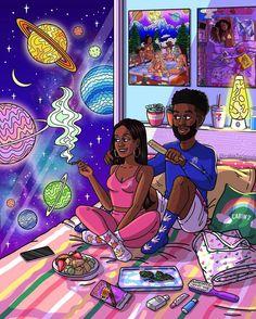 Black Love Art, Black Girl Art, Art Girl, Arte Dope, Dope Art, Nostalgia Art, Psychadelic Art, Dope Cartoon Art, Stoner Art