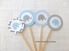 Blue and Gray Elephant Baby Shower Elephant by AlohaCakesbyAndrea, $9.00