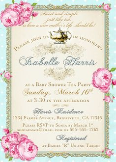 Kitchen tea invitation or high tea by westminsterpaperco on etsy tea party baby shower tea party invitation floral vintage pink aqua gold roses diy printable stopboris Choice Image
