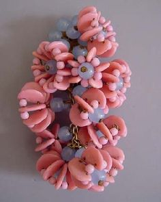 Haskell pink & blue glass bead dress clip, c 1935