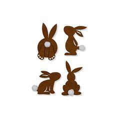 4 Filzsticker Hasen mit Puschelschwanz / selbstklebend