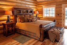 Buy exceptional indoor and outdoor rustic furniture including barnwood furniture: Country rustic bedroom sets, living rooms furniture and contemporary farmhouse styles! Wood Bed Design, Rustic House, Cabin Bedroom, Wood Bedroom Furniture, Home, Bedroom Design, Bedroom Sets, Rustic Bedroom, Home Decor