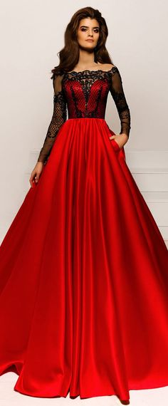 NEW! Luxury Tulle & Satin Off-the-shoulder Neckline A-line Prom Dresses With Beaded Lace Appliques & Pockets