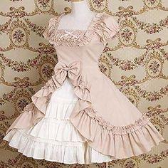 Manga curta da curva de algodão na altura do joelho e plissado Princesa Vestido…