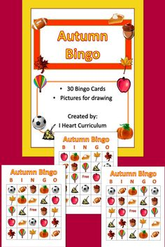 Here is a game of autumn bingo with pictures. There are 30 colorful bingo cards and pictures cards to draw from. Just print, laminate, and play.