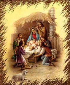 Vintage Christmas Card Baby Jesus Nativity Scene Religious