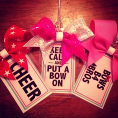 Hey, I found this really awesome Etsy listing at http://www.etsy.com/listing/127683296/cheer-bow-luggage-tags