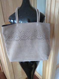 Buco Beige Soft Suede XL Laser Cut Lace Purse Handbag Tote