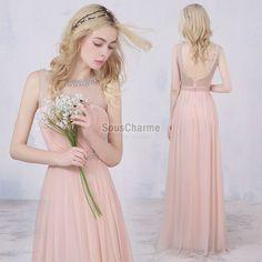 robe de ceremonie mariage rose pâle longue en mousseline col transparent à perles