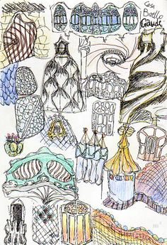 sketch of architectural elements from Gaudi buildings... apt art