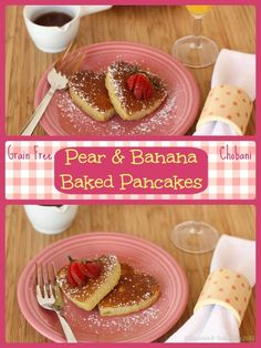 Baked Pancakes are gluten free, grain free, and packed with protein for a fun healthy breakfast! Make them with your favorite flavor Greek yogurt! | cupcakesandkalechips.com