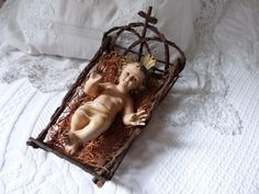 Antique French religious statue infant