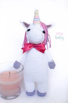 Stuffed Unicorn, Dinosaur Stuffed Animal, Crochet Baby Toys, Her Hair, Horns, Burlap, Plush, Long Hair Styles, Christmas Ornaments