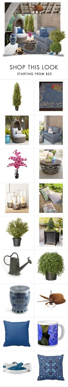 """Blue Theme Outdoor Decor and Furniture"" by sgolis ❤ liked on Polyvore featuring interior, interiors, interior design, home, home decor, interior decorating, National Tree Company, Safavieh, Nearly Natural and GG Collection"
