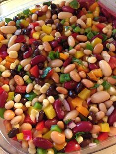 1 can each... Dark red kidney beans White kidney beans Pinto beans Navy beans Black beans White corn **drain & rinse all canned items** 1 each...green, yellow, orange & red pepper 1 medium red onion Handful of cilantro 3/4 cup apple cider vinegar 3/4 sugar 2 TBS oil
