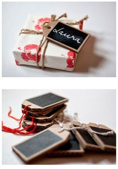 ✂ That's a Wrap ✂ diy ideas for gift packaging and wrapped presents - DIY reusable chalk tags Wrapping Gift, Gift Wraping, Creative Gift Wrapping, Creative Gifts, Wrapping Ideas, Paper Packaging, Pretty Packaging, Gift Packaging, Packaging Ideas