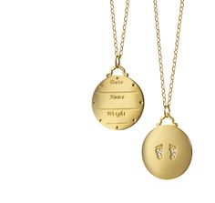 Monica Rich Kosann is introducing this gold charm necklace, which can be inscribed with your babys name, weight, and date of birth, for Fall. It has push present written all over it. Monica Rich Kosann yellow-gold baby feet birth charm, $2,900, shop.mrkstyle.com.