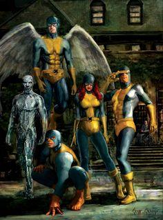 60s X-Men, The Original X-men: Angel, Iceman, Beast, Marvel Girl (Jean Grey), Cyclops ... Art by Cliff Cramp