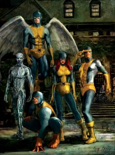 60s X-Men, The Original X-men: Angel, Iceman, Beast, Marvel Girl (Jean Grey), Cyclops
