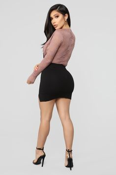Days Go By Bodysuit - Mauve – Fashion Nova Sexy Outfits, Skirt Outfits, Women's Fashion Dresses, Skirt Fashion, Sexy Dresses, Fashion Nova Models, Fashion Tips, Lingerie, Sexy Legs