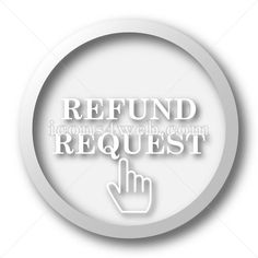 Refund request white icon. Refund request white button. High quality image for your projects. Royalty free internet button on white background.