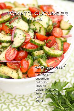 Easy to make and like a burst of summer in every bite! Cucumber Salad Vinegar, Cucumber Tomato Salad, Onion Salad, Cucumber Recipes, Cucumber Juice, Cucumber Cleanse, Fresh Tomato Recipes, Cucumber Water, Mediterranean Cucumber Salad