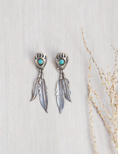 Vintage Sterling Silver Bear Paw Earrings - turquoise stones dangling feather…