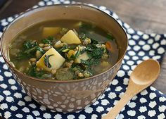 Chard, Lentil & Potato Slow Cooker Soup - will add sausage and prob do all sautéing in crockpot so juices stay in
