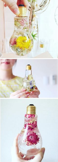 Flowers Suspended in Light Bulbs Glisten Like Precious Jewels Display beautiful blooms in a unique flower light bulb vase. - diy floral decorationDisplay beautiful blooms in a unique flower light bulb vase. Diy Vintage, Vintage Decor, Vintage Crafts, Vintage Holiday, Vintage Signs, French Vintage, Light Bulb Vase, Light Bulb Crafts, Diy Crafts Lights