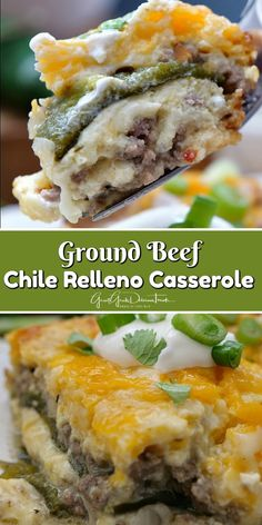 This Ground Beef Chile Relleno Casserole is loaded with three types of cheese, oven roasted Poblano peppers and seasoned ground beef. #chilerellenos #casserolerecipes #cheese #mexicanfoodrecipes #delicious #greatgrubdelicioustreats