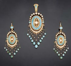 A 19th century gold, turquoise and pearl pendant and a pair of earrings The central pearl to a pierced foliate ground within a buff-top turquoise surround with pearl spray top and hinged half-pearl panel with turquoise tassel drops, the earrings of matching design, circa 1860, in fitted case by Fontana & Cie, the exterior stamped with a Count's coronet and the initials P.C., pearls untested (3)