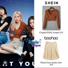 Kpop Fashion Outfits, Faux Leather Skirt, Boohoo, Skater Skirt, Jumper, Rose, Skirts, Style, Skirt