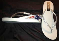 New England Patriots  Swarovski Crystal Wedge Flip Flops sizes 6-10 email stepnstones @ comcast.net