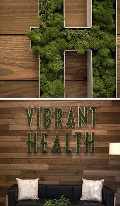 Green moss logo in metal letters. Now that's a way to greet people! Moss Letters, Metal Letters, Shoe Store Design, Moss Decor, Wall Logo, Moss Wall, Clinic Design, Restaurant Interior Design, Signage Design