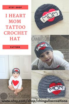 12ce4944bed Cute Valentines crochet hat for boys or girls. I heart mom tattoo crochet  beanie.