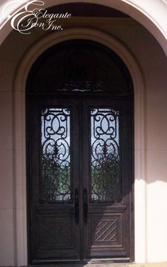 Custom wrought iron door with attached full arch transom. Wrought Iron Doors, Double Doors, Arch, Design, Home Decor, Longbow, Decoration Home, Wrought Iron Gates, Room Decor