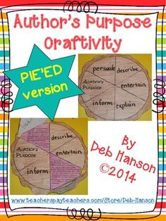 Author's Purpose Craftivity (PIE'ED) for grades 4 and up