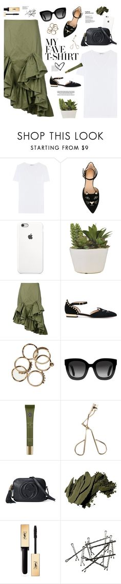 """""""Dress Up a T-Shirt"""" by mylkbar ❤ liked on Polyvore featuring T By Alexander Wang, Charlotte Olympia, Marques'Almeida, Gucci, Anja, Rituals, Battington, Bobbi Brown Cosmetics, Yves Saint Laurent and MyFaveTshirt"""