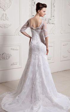 Satin Meerjungfrau romantisches Brautkleid mit Kapelle Schleppe mit halben Ärmeln