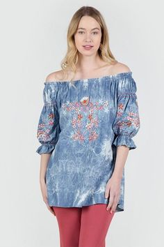 e298072628c5d1 Wear this beautiful denim blue tie dyed top on or off the shoulder. It has  coral color embroidery detail. sleeves are gathered at the hemline.