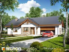 gotowy projekt Dom w nerinach House Front, Gazebo, Outdoor Structures, Cabin, Mansions, House Styles, Building, Outdoor Decor, Design