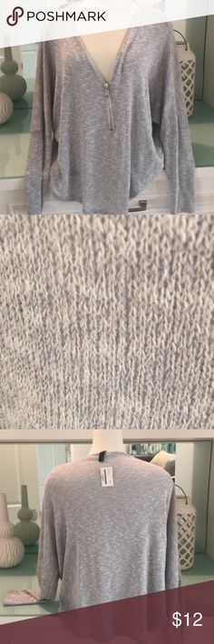 Grey Zip-Up Knit Top - Gently Preowned - Large This top has been pre-loved and worn 3-4 times! Hand washed on 7/9/17 & laid flat to dry. Great condition! I typically wear a Small, but decided to buy a Large for an oversized fit. Lightweight knit with dolman sleeves. NO stains, odors, or flaws other than a couple VERY tiny unnoticeable snags from light wear. Comes from a smoke free home. ***PLEASE NOTE: INNER SIZE TAG HAS BEEN CUT. This is shown in last photo! I expected to keep this & find…