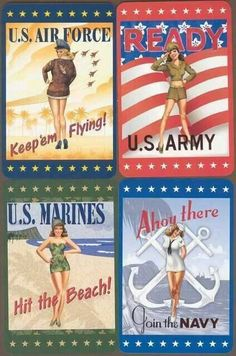 Military posters from years ago. Anyone remember them? Help Us Salute Our Veterans by supporting their businesses at www.VeteransDirectory.com and Hire Veterans VIA www.HireAVeteran.com Repin and Link URLs