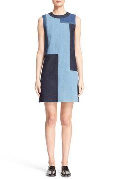 Victoria, Victoria Beckham Denim Patchwork Shift Dress