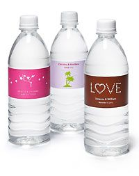 Personalized water bottles...cute idea for an outdoor wedding ceremony in July