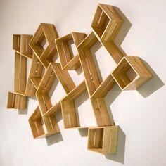 "Sum Shelves  Peter Marigold    2010  Cherry  Box 1: 7.5"" W x 7.3"" L x 5.1"" D  Box 2: 11.3"" W x 10.2"" W x 5.1"" D  Box 3: 14.75"" W x 16.8"" W x 5.1"" D"